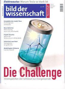 """""""Seit 2015 gibt es im Rahmen des bild-der-wissenschaft-Abos das Themenheft. In ihm macht es sich die Redaktion zur Aufgabe, einen brisanten Bereich aus verschiedenen Blickwinkeln der Wissenschaft und Technologie zu beleuchten. Ein Megathema, das uns alle betrifft, ist die Energiewende"""", erklärt Chefredakteur Wolfgang Hess in seinem Editorial. """"Wir konzentrieren uns in dieser Ausgabe auf das, was deutschlandweit in Sachen Energiespeicher-Technologien passiert. Und das in fast 20 Beiträgen, von denen der überwiegende Teil durch die beiden freien Wissenschaftsjournalisten Felix Austen und Dr. Frank Frick recherchiert und geschrieben worden ist."""""""